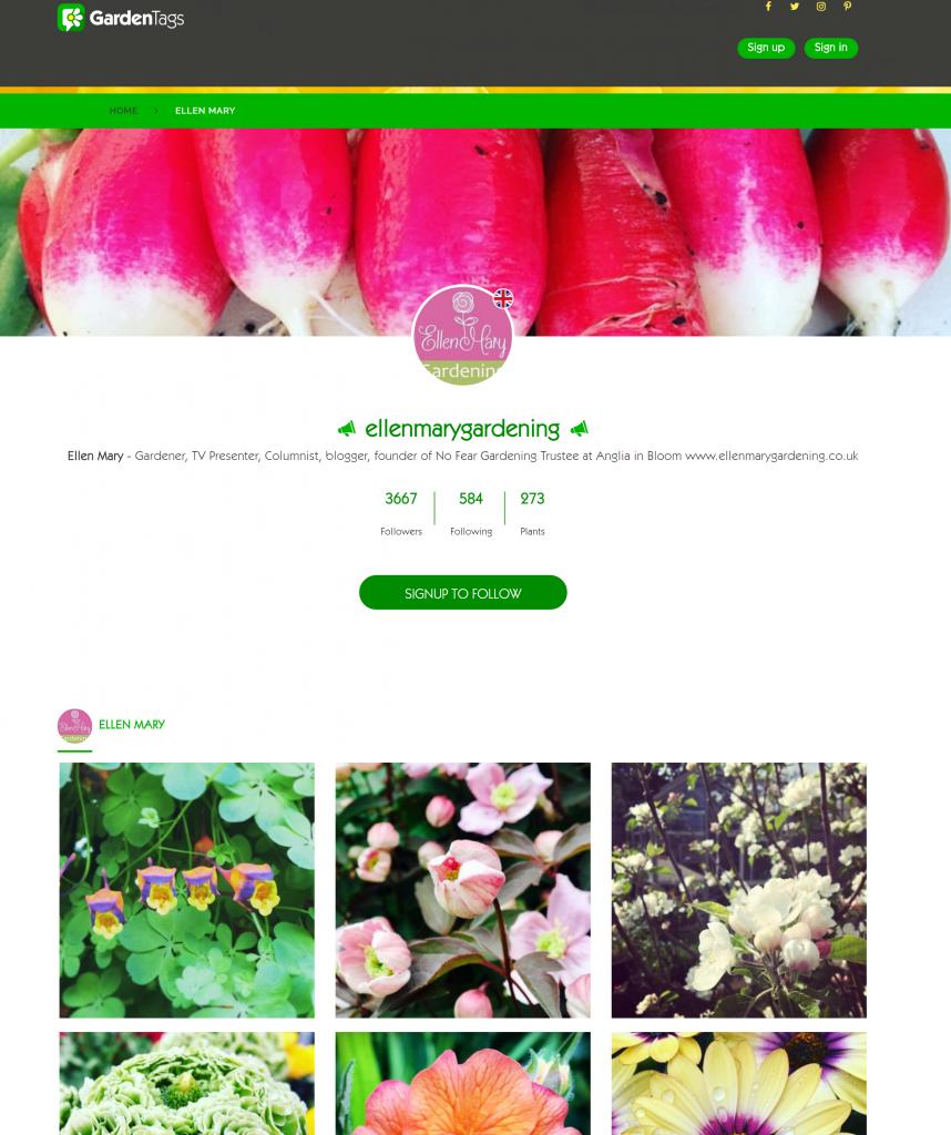 Ellen Mary Gardening profile page